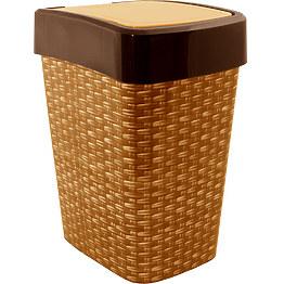 Ведро для мусора Алеана Евро с декором Ротанг 10 л фото, цена 100 грн