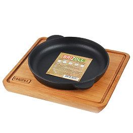 Сковорода чугунная Brizoll Н1825-Д 18 см с доской